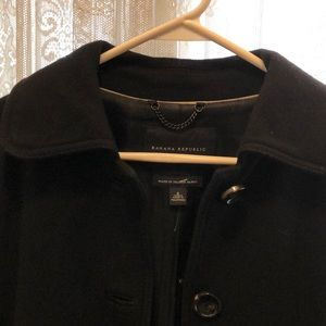 BANANA REPUBLIC-BLACK WOOL CAR COAT